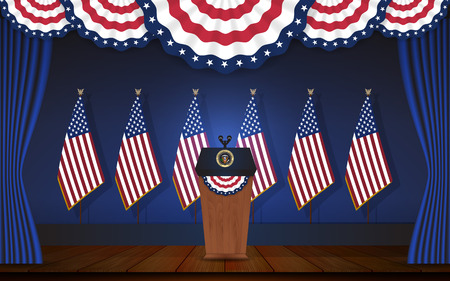 President podium on stage with flagstaff on back and semi-circle flag on top. Open curtain stage with blue background and wooden floor. Vector illustration Illustration