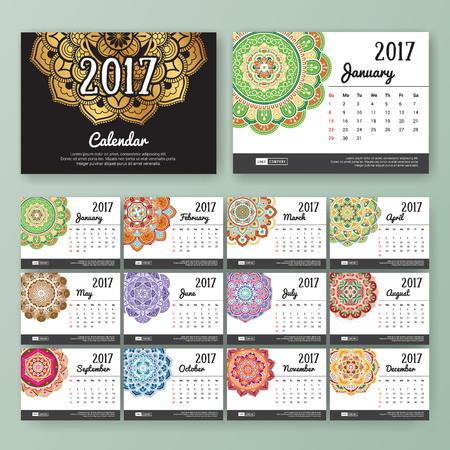 desk calendar: 12 month desk calendar template for print design with colored Mandala background. 2017 calendar design start with Sunday. 7x5 inches size with bleeds vector illustration
