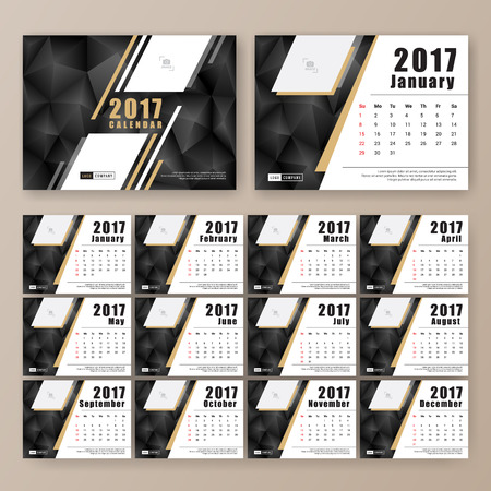 desk calendar: 12 month desk calendar template for print design with dark polygon background. 2017 calendar design start with Sunday. 7x5 inches size with bleeds vector illustration