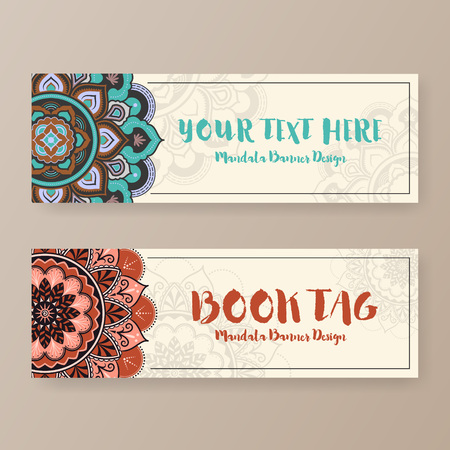 banner design: Assortment of banner with ethnic abstract drawings. Book tag design with Mandala floral decorative.