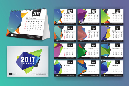 mon 12: 12 month desk calendar template for print design with abstract polygon background. 2017 calendar design start with Sunday. 7x5 inches size with bleeds vector illustration Illustration