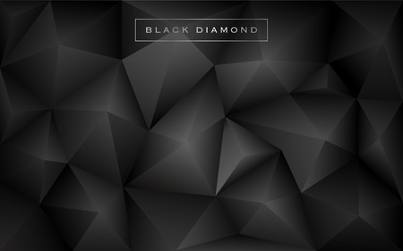 gnarled: Abstract black diamond polygon background. Luxury low poly wallpaper design. Vector illustration