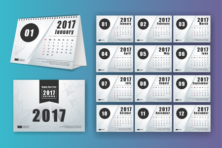 mon 12: 12 month desk calendar template for print design with mesh polygon background. 2017 calendar design start with Sunday. 7x5 inches size with bleeds vector illustration Illustration