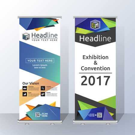 advancement: Roll Up Banner Template Design with Abstract Geometric Polygon. Vector illustration