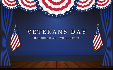 Veterans Day Background With Circle Wavy USA Flag and Stage Scene Design. Vector illustration