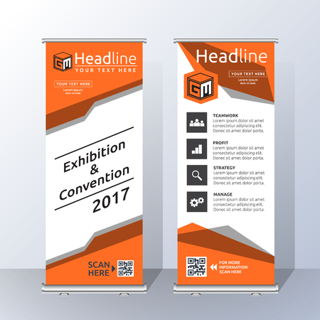 Roll Up Banner Template Design with Abstract Orange Geometric. Vector illustration