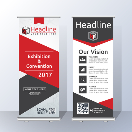 Roll Up Banner Template Design with Abstract Red and Black Geometric. Vector illustration Vetores