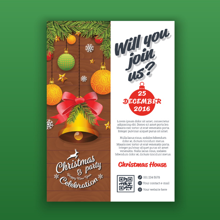 christmas party: Party poster template with realistic balls and bell for Christmas and happy new year 2017. Vertical Christmas party invitation template for print. A4 Layout vector illustration