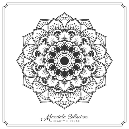 tibetan: mandala decorative ornament design for coloring page, greeting card, invitation, tattoo, yoga and spa symbol. Vector illustration Illustration