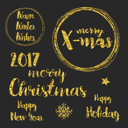 gleam: Christmas and happy new year 2017 typography with decorative glittering design collections. Illustration