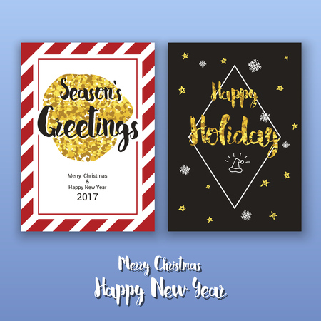 glint: Party poster template with glitter decoration for Christmas and happy new year 2017. Vertical Christmas greeting card template for print. Vector illustration Illustration