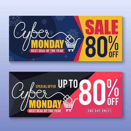 buen trato: Lunes cibernético Antecedentes Bandera de la venta para la buena promoción Deal. Lunes cibernético etiquetas y la etiqueta ilustración design.vector