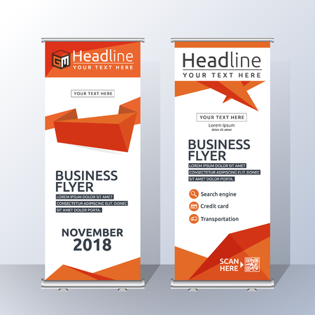 Vertical Roll Up Banner Template Design for Announce and Advertising. Abstract Orange and White Layout Template.  Vector illustration
