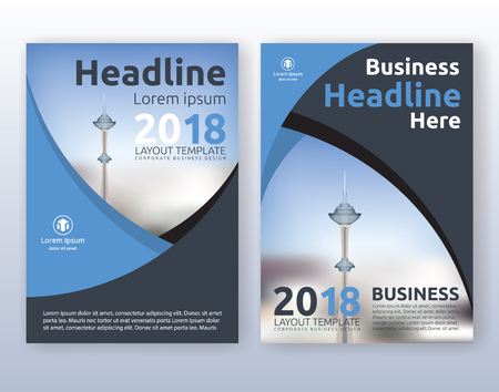Multipurpose corporate business flyer layout design. Suitable for flyer, brochure, book cover and annual report. blue and black color scheme in A4 size layout template background with bleeds.