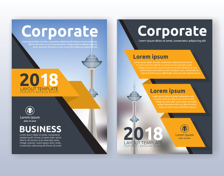 Multipurpose corporate business flyer layout design. Suitable for flyer, brochure, book cover and annual report. Yellow and black color scheme in A4 size layout template background with bleeds. Vectores