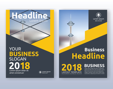 black yellow: Multipurpose corporate business flyer layout design. Suitable for flyer, brochure, book cover and annual report. yellow and black color scheme in A4 size layout template background with bleeds.