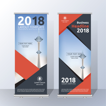 presentation screen: Vertical Roll Up Banner Template Design for Announce and Advertising. Abstract Red and Black Layout Template.  Vector illustration