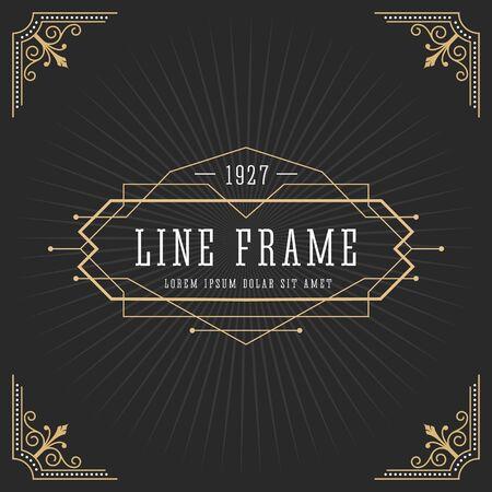 linear art: Vintage line frame design for labels, banner, logo, emblem, apparel, t- shirts, sticker and other design object. Vector illustration