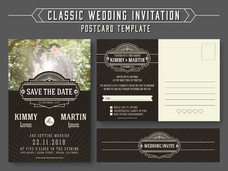 Classic vintage wedding invitation card design, suitable for both traditional and modern trend, you can replace your wedding couple image. Save the date and RSVP postcard template. Vector illustration