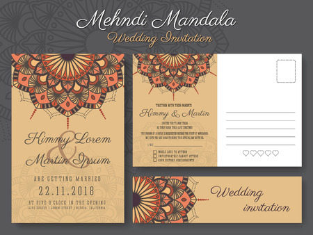 Mehndi Party Invitation Template : Emerald green art deco wedding invitation template.