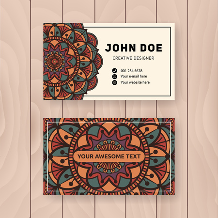 visiting card: Creative useful business name card design. Vintage colored Mandala design for personal name card, visiting card or tag. Round ornament vector illustration.