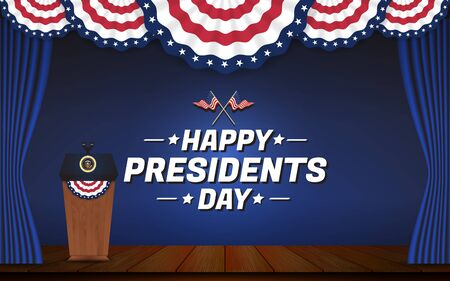 Happy presidents day background. USA presidential podium and stage