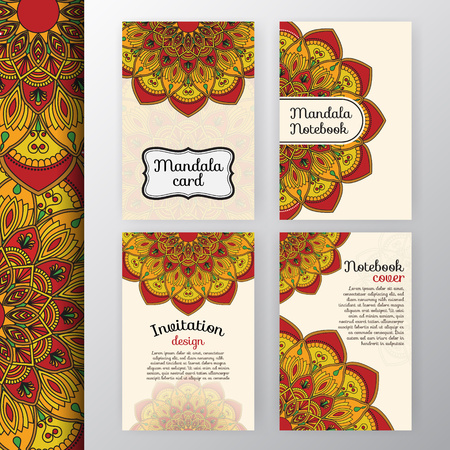 vecter: Set of vintage invitation and background design with Mandala decoration. Round decorative ornament design for greeting card, wedding invite, notebook cover, flyer or leaflet design
