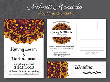 vintage: Classic vintage wedding invitation card design with beautiful Mandala flower, suitable for both traditional and modern trend. Save the date and RSVP postcard template.Vector illustration