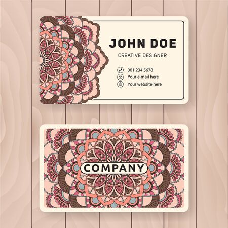 flower layout: Creative useful business card design. Vintage colored Mandala design for personal name card, visiting card or tag. Round ornament vector illustration.