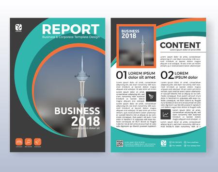 Multifunctioneel bedrijfsvlieger lay-outontwerp. Geschikt voor flyer, brochure, boekomslag en jaarverslag. Turkoois kleurenschema in A4 de achtergrond van de lay-outmalplaatje met aftappen. Stock Illustratie