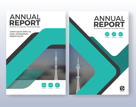 Corporate business flyer layout design. Suitable for flyer, brochure, book cover and annual report. Turquoise color scheme in A4 size layout template background with bleeds. Illustration