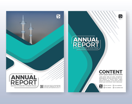 Suitable for flyer, brochure, book cover and annual report. Turquoise color scheme in A4 size layout template background with bleeds.