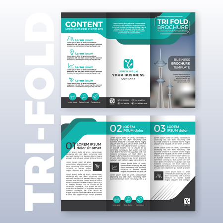 Business tri-fold brochure template design with Turquoise color scheme in A4 size layout with bleeds. Vector illustration Illustration