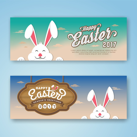 happy web: Happy Easter Web Banner With Bunny and Hanging Wood Board. Season Greeting Background Template. Vector illustration Illustration