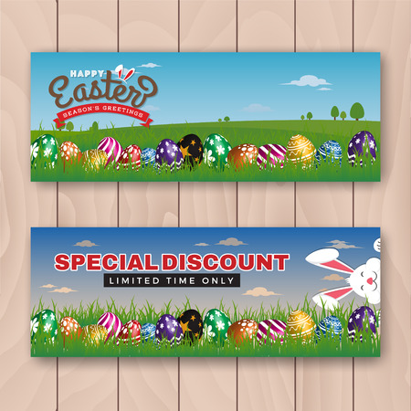 happy web: Happy Easter web banner with painting eggs hiding in meadow. Illustration