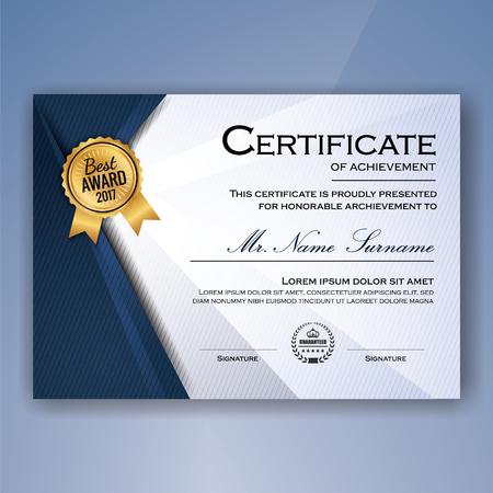 white achievement: Blue and white elegant certificate of achievement template background. vector illustration