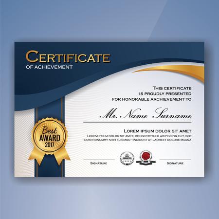 Certificat bleu et blanc élégant de modèle de réalisation de fond. illustration vectorielle Banque d'images - 78091064