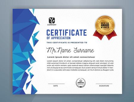 Diseño profesional moderno multiusos de la plantilla del certificado para la impresión. Ilustración del vector Ilustración de vector