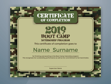 Boot Camp Internship Program Certificate Template Design with Camouflage Background for Print. Vector illustration