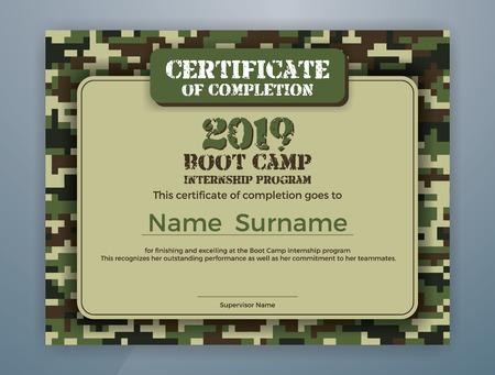 Boot Camp Internship-programma Certificaatsjabloonontwerp met camouflage-achtergrond voor afdrukken. Vector illustratie