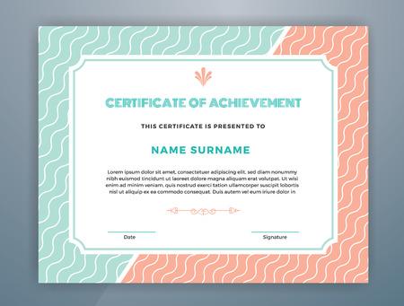 Multipurpose Modern Professional Certificate Template Design for Print.  Pastel Color Scheme Certificate of Achievement. Vector illustration