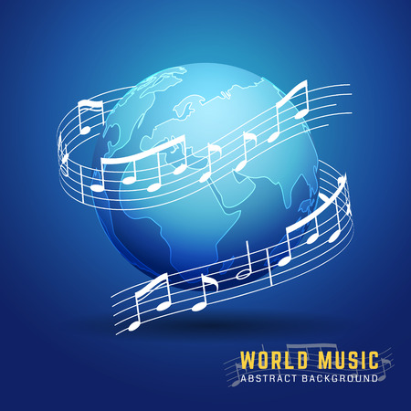 Abstract 3D World Music Design Concept. Melody Notes Score Around The Earth. Vector Illustration Фото со стока - 81300626