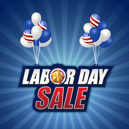 Labor day sale background design with hanging tag and balloon. Vector illustration