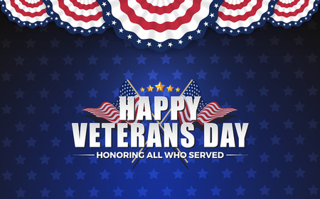 Happy Vererans Day Background Design with Cross Wavy Flag and Golden Stars. Honoring All Who Served. Vector illustration