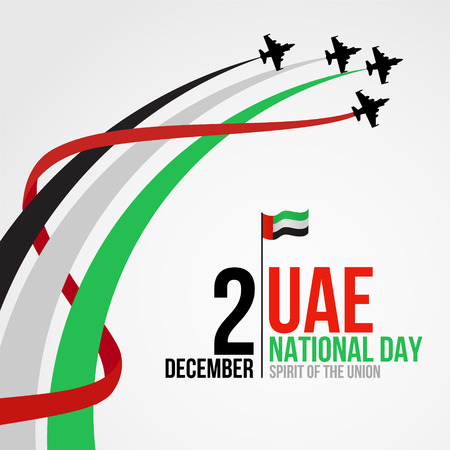 United Arab Emirates national day background design with colorful smoke from jet plane. UAE holiday celebration background. Spirit of the union concept. Ilustração