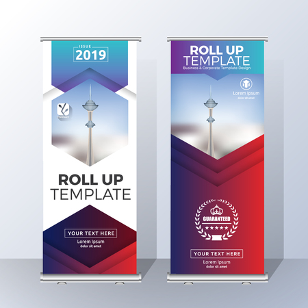 Vertical Roll Up Banner Template Design for Announce and Advertising. Vector illustration Çizim