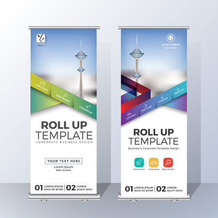 Vertical Roll Up Banner Template Design for Announce and Advertising. Vector illustration Vettoriali