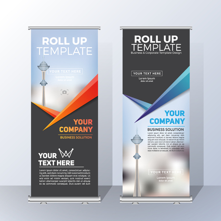 Vertical Roll Up Banner Template Design for Announce and Advertising. Vector illustration Stock Illustratie