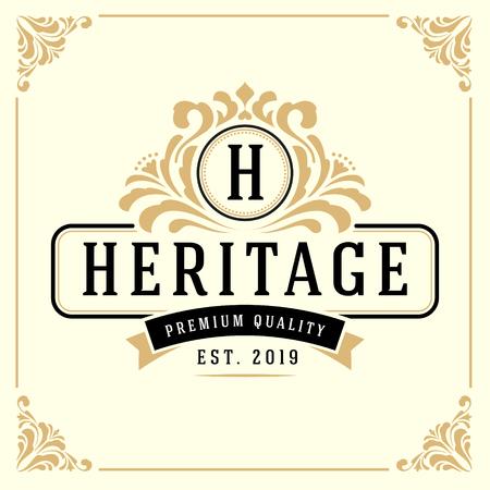 Vintage luxe monogram Logo sjabloon voor Banner, etiket, Frame, Productlabels. Retro embleem Banner ontwerp. Vector illustratie