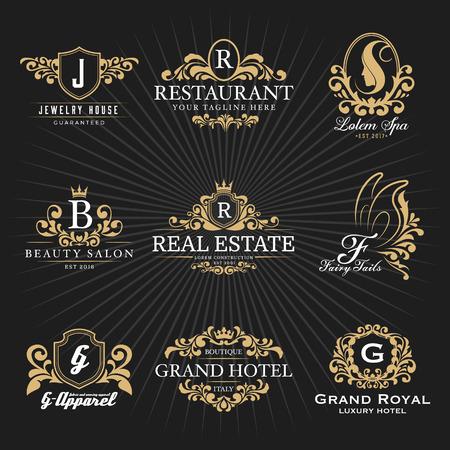 ヴィンテージ ロイヤル紋章モノグラムとフレーム ロゴ装飾的なデザイン。ベクトル図